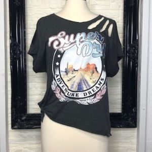 SUPER DRY Women's Distressed Tee Shirt LARGE